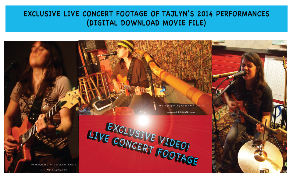 Exclusive live concert footage of Tajlyn's 2014 performances.  Digital download movie file
